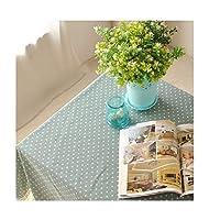 テーブルクロス ファッション小さな新鮮なマルチカラードットプリントテーブルクロステーブルフラグプレースマットセットカスタム (Color : Blue, Size : 55.1*78.7in)