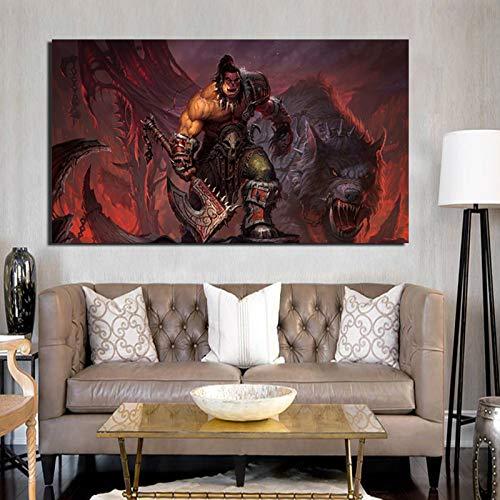 KWzEQ Spiel Held Malerei auf Leinwand drucken Wohnzimmer Hauptdekoration Moderne Wandkunst Ölgemälde,Rahmenlose Malerei,50x90cm