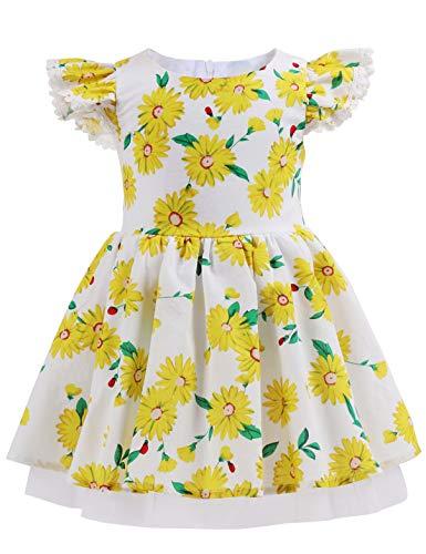 Baby Girl Casual Dress Children Swing Sundress Kids Summer Daisy Cotton Dress for Girls Pink Birthday Party Dress Daisy White 03 Size 1-2T