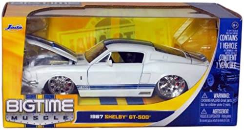1967 Shelby GT-500 1 24 Scale (Weiß with Blau Racing Stripes)