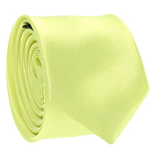 Cravate Fine Vert anis - Cravate Homme Coupe Slim Moderne - 5cm à la Pointe - Couleur Unie - Accessoire Chemise pour Mariage, Cérémonie
