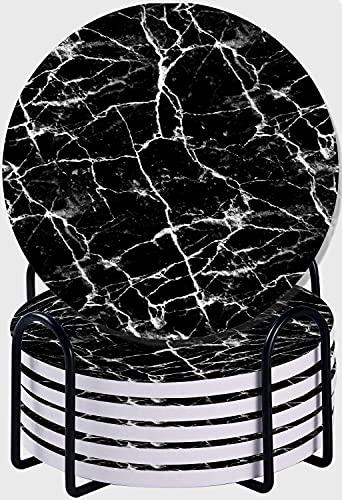 CIKYOWAY Set di 6 sottobicchieri,struttura astratta di marmo nero - mattonelle senza giunte Sottobicchieri per Bevande in Pietra Ceramica Assorbente con supporto in metallo per Amici e Parenti
