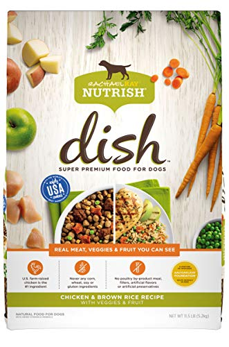 Rachael Ray Nutrish Dish Premium Natural Dry Dog Food, Chicken & Brown Rice Recipe with Veggies & Fruit, 11.5 Pounds