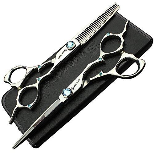 17.5cm Silver 6in Barber Cut Made in Japan Qualité 440c Sharp Styling Coiffeur Coiffure et découpage Ciseaux pour cheveux