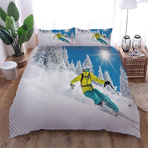 AOUAURO Super king Duvet Cover Set Ski mountain 3D Printed Quilt Cover Bedding Set with Zipper Closure in 100% Polyester for Children Kids Teens Adults 1 Quilt Cover 2 Pillowcases 260x220cm 3PCS