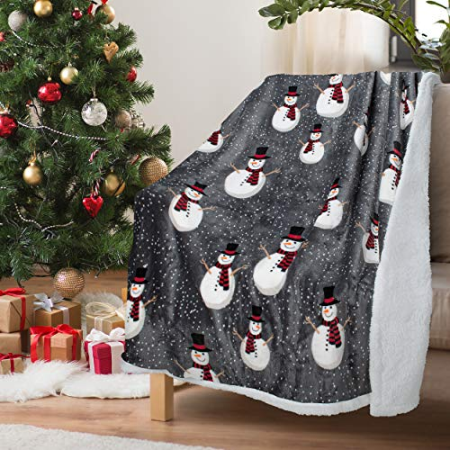 Catalonia Classy Weihnachtswurf Sherpa Decke, Superweiche Flauschige Sherpa Throw TV Decke Dekorative Decke für Bett Couch Urlaub Dekoration, 130 x 150 cm, Schneemann Muster