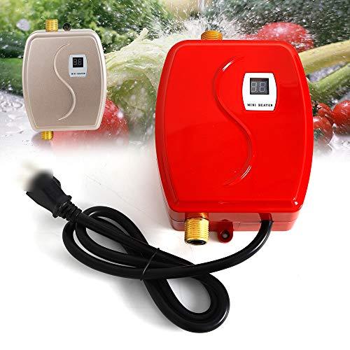 Durchlauferhitzer Klein - 3800W Mini Durchlauferhitzer Elektrische Durchlauferhitzer Elektrische Warmwasserbereiter für Badezimmer Küche Dusche (rot)