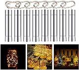 Herefun Cadena Led Luces para Botellas de Vino, 8 x 20 LEDs Guirnaldas Luminosas 2M Lámparas de Botellas Blanco Cálido, Tira de luz Tapa de Botella para Decoraciones de DIY Festivales Luces (8 Pcs)