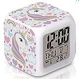MYYYYI Unicornio Despertador para niños, dormitorios LED Digital Reloj Despertador Ajuste Rápido de Cubo de Despertador Relojes con 3 Lados del patrón del Unicornio Suave luz Nocturna