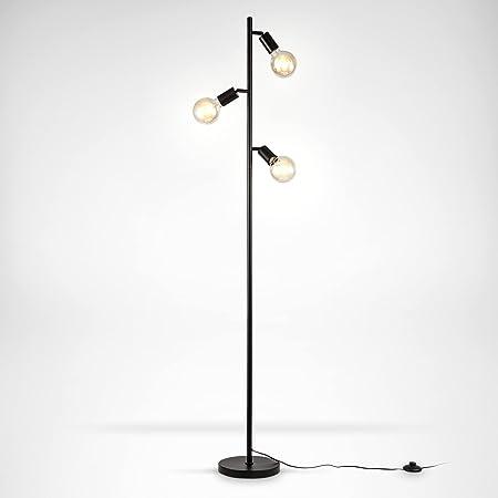 B.K.Licht Lampadaire à pied, 3 spots pivotants, douilles E27, design rétro industriel en métal noir, interrupteur à pied, livré sans ampoules