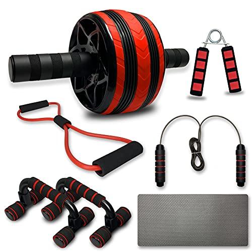 GTIPPOR 6-in-1 Fitness Workout Set - AB Wheel Roller Addominali, 2 Maniglie per Flessioni, Banda di Resistenza a Forma di 8, Corda per Saltare,Pinza Mano,per Uomo/Donna Home Fitness