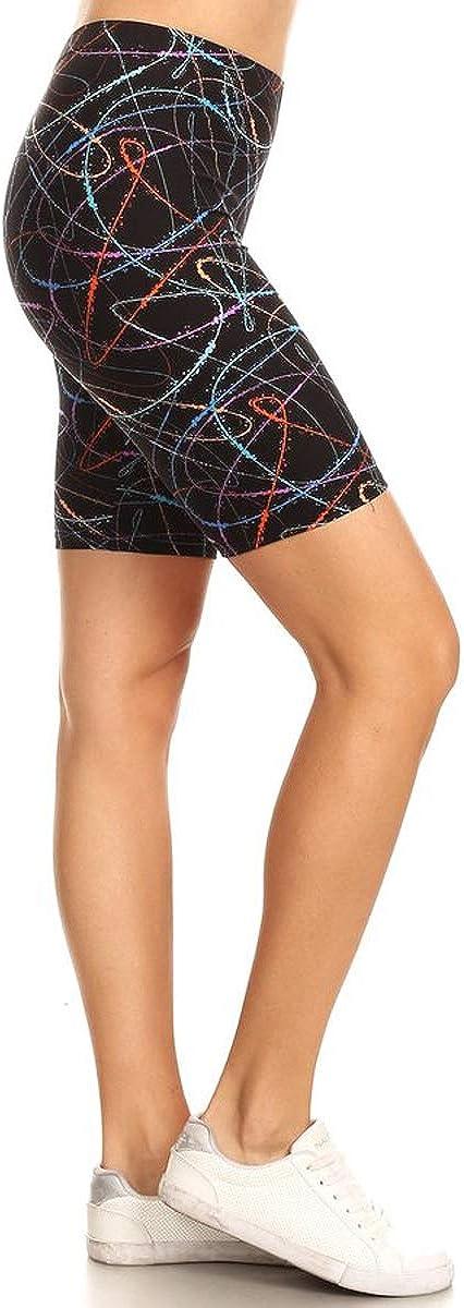 Leggings Depot Womens Fashion Biker Shorts Popular Prints BAT1