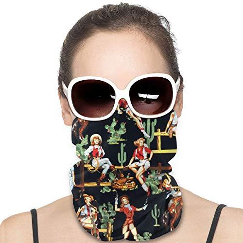 Máscara para la cabeza, estilo occidental, para niña, caballo, cactus vintage, deportivo, bandana, cuello, polaina, bufanda