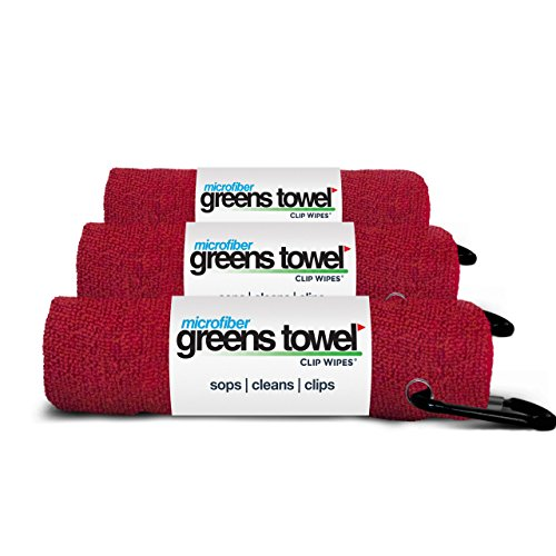 Greens Towel 3 Pack Red | Convenient Microfiber Golf Towels with Clip (Cardinal Red)