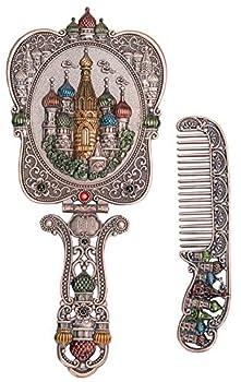 Nerien Vintage Mirror Comb Set Metal Handle Makeup Mirror Castle Antique Russian Style Hand Mirror with Comb Retro Decorative Tabletop Mirror Travel Folding Cosmetic Mirror Copper