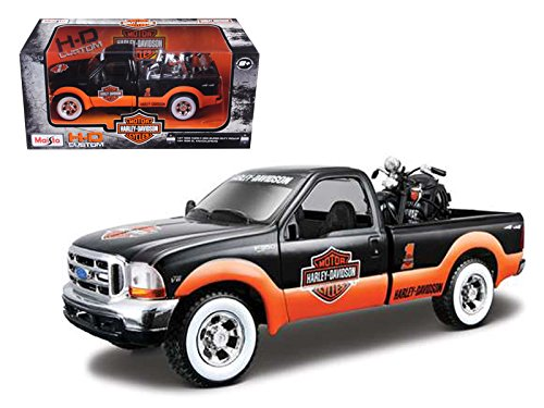 Maisto 32172ORBK-1 1999 Ford F-350 Pickup Truck With Harley Davidson 1936 El Knucklehead Motorcycle 1/24 Orange/Black & White Wheels