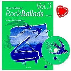 RockBallads Band 3 - Des morceaux calmes et très expressifs dans l\'ensemble de Daniel Hellbach, avec CD et pince à partitions colorée en forme de cœur