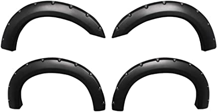 Smooth Matte Black Paintable Pocket Bolt-Riveted Style 4pc Premium Fender Flares for 1999-2005 Ford F250 F350 Super Duty Styleside Models