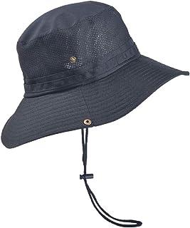 Unisex Outdoor Safari Sun Hat UV Protection Fishing Hiking Caps, Wide Brim Solid Adjustable Bucket Mesh Boonie Hat
