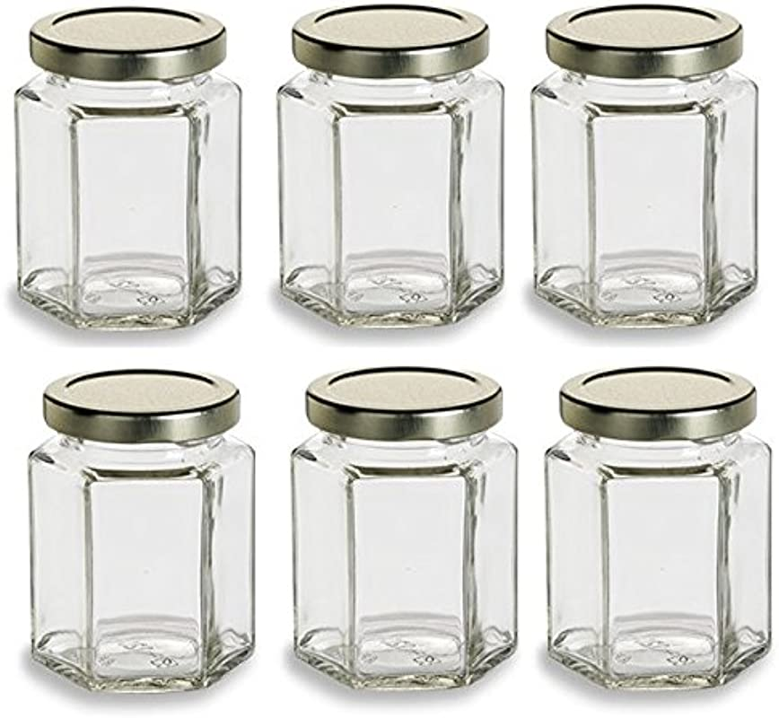 Nakpunar 6 Pcs 6 Oz Hexagon Glass Jars For Jam Honey Wedding Favors Shower Favors Baby Foods DIY Magnetic Spice Jars