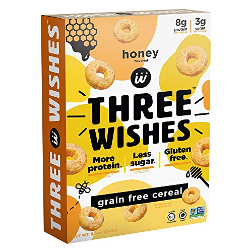 Three Wishes Cereal - Breakfast Cereal - High Protein - Low Sugar - Gluten Free - Grain Free - Dairy Free - Plant Based - Vegan Snack Cereal - Non GMO - Honey 1 Pack