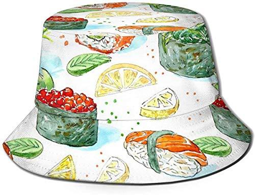 DUTRIX Sombreros de Cubo Transpirables con Parte Superior Plana Unisex L es para Sombrero de Cubo de Loris Sombrero de Pescador de Verano-Cocina Japonesa-Talla única