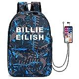 for Billie Eilish Mochilas de Carga USB y Bloqueo de Contraseña para Estudiantes, Bolsas para Niños Niñas