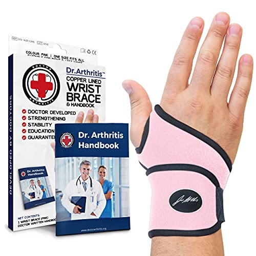 Dr Arthritis Attelle de Poignet Femme – Orthèse de Maintien de la Main – Protège Poignets Anti Douleurs – Main Droite/Gauche – Taille Unique Réglable - avec le Livre de la Main - Rose