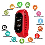 ADYM M2 Activity Tracker and Fitness Band with Heart Rate Monitor Compatible with All Android and iOS Smartphone (Red, M2 Band)
