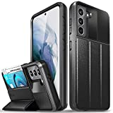 Vena vCommute Wallet Case Compatible with Samsung Galaxy S21 (6.2'-inch), (Military Grade Drop Protection) Flip Leather Cover Card Slot Holder with Kickstand - Space Gray
