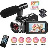 Camcorder Videokamera 2.7K Camcorder Full HD Videokamera für YouTube 30MP Videokamera 18X Digitaler Video Camcorder mit Mikrofon und 2 Batterien