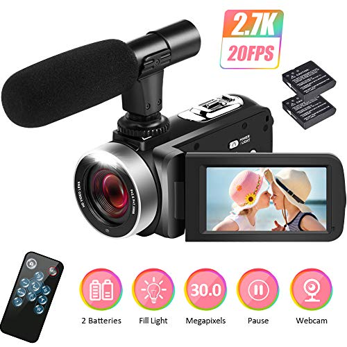 Camcorder Videokamera 2.7K Camcorder Full HD Videokamera für YouTube 30MP Videokamera 18X Digitaler Video Camcorder mit Mikrofon und 2 Batterien