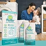 GREEN PUFFER LAVA + AMMORBIDISCE (2in1 fai da te). Eco-detersivo concentrato idrosolubile Super Green per lavatrice + ammorbidente. 30 lavaggi, Made in Italy