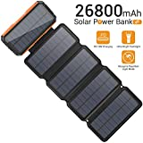 Solar Charger 26800mAh, Portable 5 Solar Panel 7.5W High Efficiency Power Bank With Ultra Bright 60-LED Panel Light and Flashlights, PD 18W Fast Charger External Battery Pack for Camping Outdoor