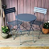 Alessia Ensemble Bistrot - Gris | Table Pliante Grise Avec Chaises Assorties