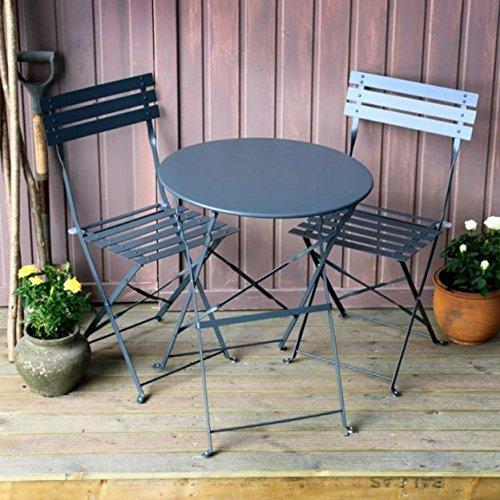 Lazy Susan ALESSIA 60cm Round 2 Seater Bistro, Steel Garden Furniture Set, Lightweight, Folding Design, Grey Finish, Matching Chairs