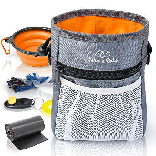 Bella & Balu Futterbeutel für Hunde + Faltbarer Napf + Klicker + Kotbeutel + Spieltau – Praktischer Leckerlibeutel mit integriertem Hundekotbeutel-Spender und vielen Gratis-Extras (Orange)