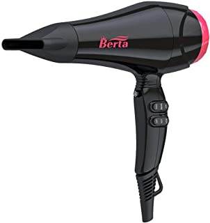 Berta Professional Salon Hair Dryer, Powerful 1875W Negative Ionic Blow Dryer, Lightweight Quiet AC Motor Ceramic Tourmaline Hairdryer with Concentrator, Black
