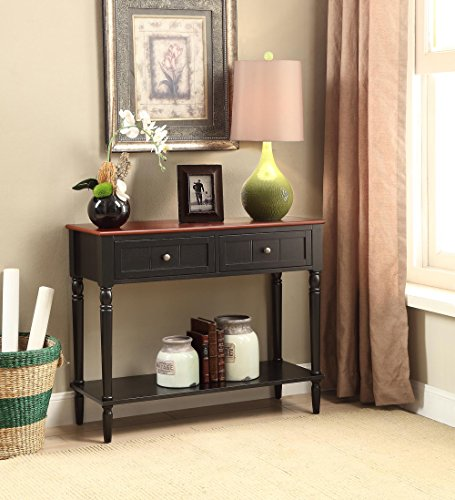 French Country 2-Drawer Hall Table in Black/Cherry