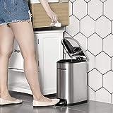 SONGMICS Mülleimer, Kosmetikeimer aus Stahl, 10 Liter, schmaler Treteimer mit Inneneimer, fürs Badezimmer, Softclose, Abfalleimer für die Nische, silbern LTB10NL - 2