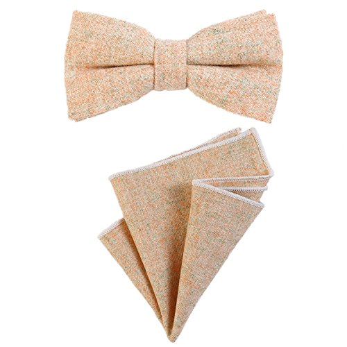 DonDon Herren Fliege 12 x 6 cm gebunden längenverstellbar und Einstecktuch 23 x 23 cm farblich passend aus Baumwolle sand
