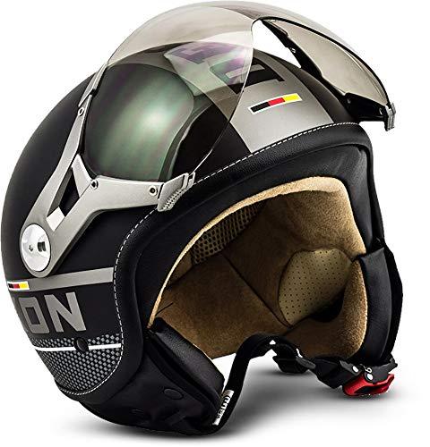 Soxon SP-325 Motorrad-Helm, ECE Visier Schnellverschluss Tasche, XS (53-54cm), Schwarz