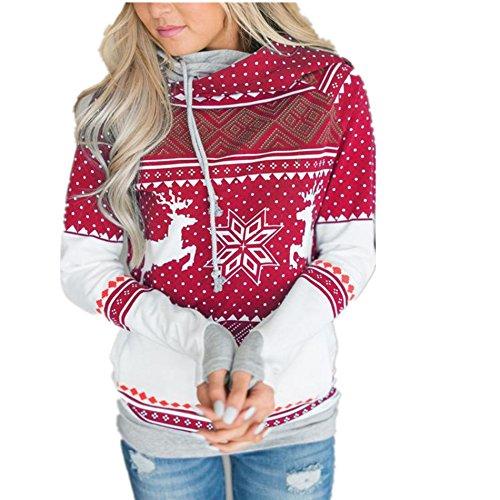 Taiduosheng Damen-Sweatshirt mit Rentier, Schneemann, Weihnachten, mit Taschen Gr. 42, rot