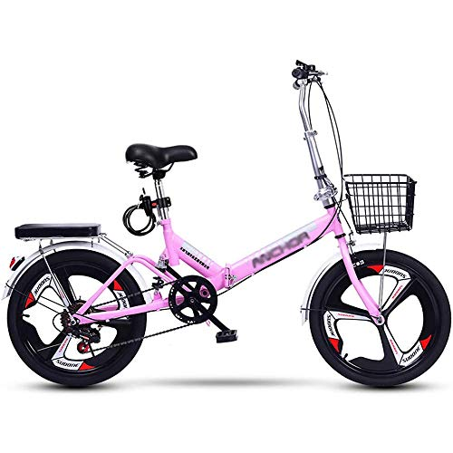 YSHUAI 20 Inch Folding Bike for Adults and Teenagers Folding Bicycle Leisure Folding Bikes City Commuter Folding Bike Shock Absorbing Bike with 6-Speed Lightweight (Maximum Load 130 Kg),Pink