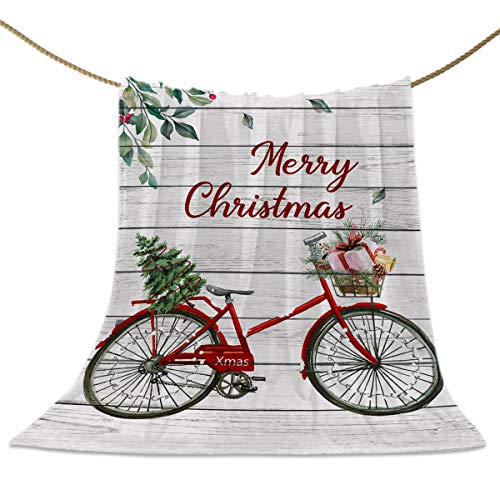 Flanell-Fleece-Überwurfdecken Weihnachtsbaum Vintage Fahrrad super weich, warm, gemütlich, leicht, dekorative Decke für Couch Sofa oder Bett Retro Holzdielen 152,4 x 203,2 cm