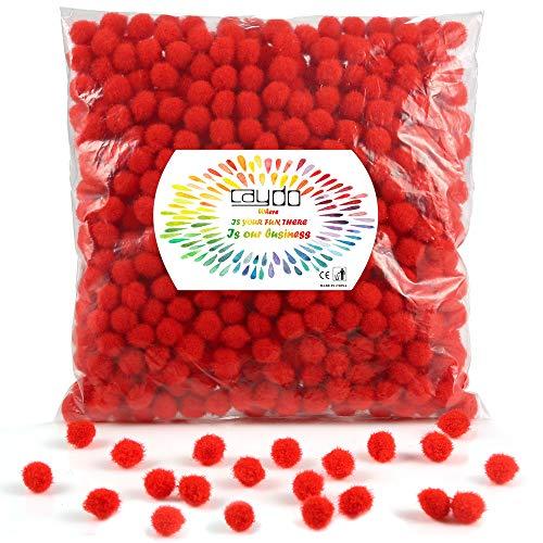 Caydo 600 Pieces Red Pom Poms, 1 cm Mini Pompoms Ball for Christmas Hobby DIY Creative Crafts Decorations