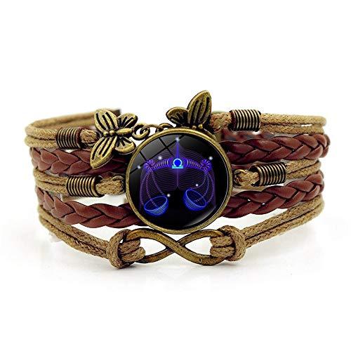 SLVVL 12 sterrenbeeld Weegschaal tijd edelsteen armband retro multi-layer bruin geweven armband sieraden