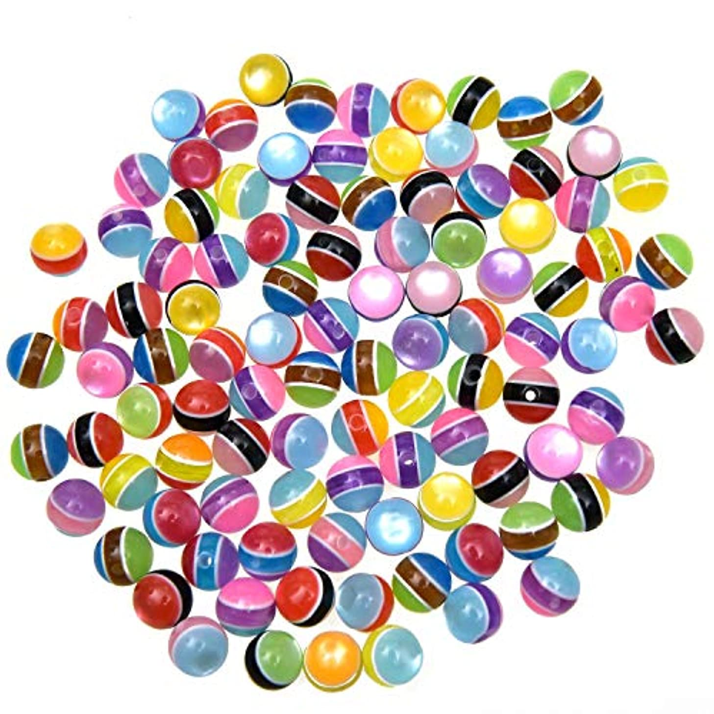 Monrocco 100 Pcs Three-Color Stripe Resin Beads DIY Jewelry Accessories Hand Earrings Bead Material 10MM for Handmade Beading Bracelet Necklace Jewelry Making