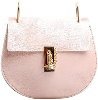Women's Cowhide Leather Chain Lock Small Shoulder Cross Body Saddle Bag Handbag
