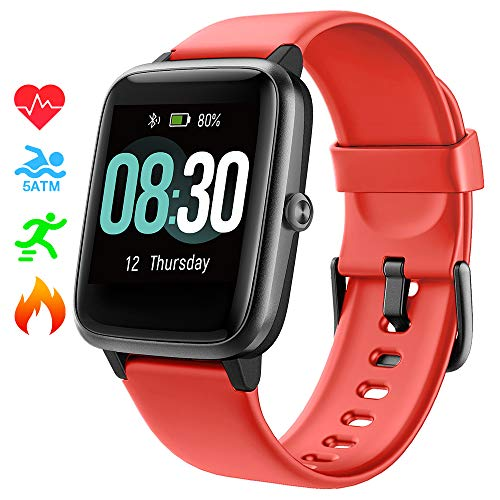 Smart Watch UMIDIGI Uwatch3 Fitness Tracker with 5ATM Waterproof All-Day Heart Rate and Activity Tracking, Sleep Monitoring, Smartwatch for Men Women Compatible with iPhone Android(Cinnabar red)